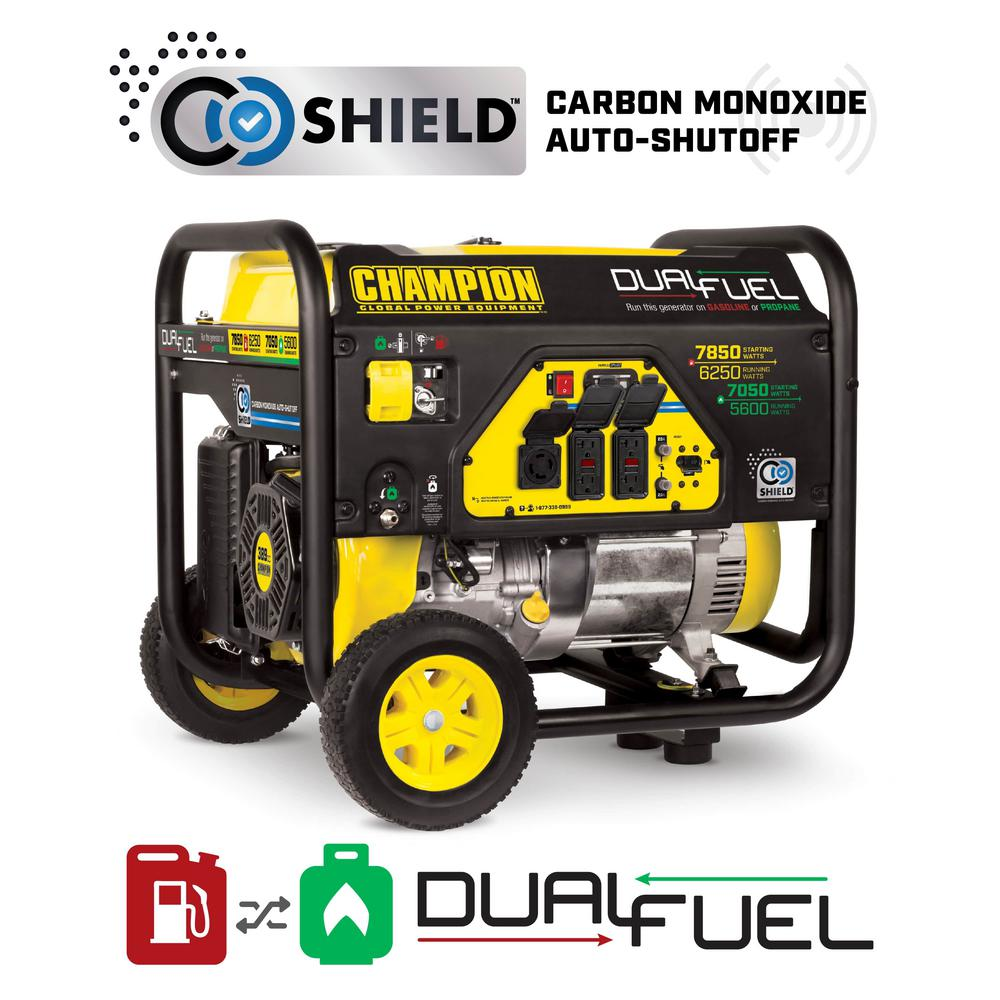 Champion Power Equipment 6250-Watt Dual Fuel Powered Portable Generator with CO Shield Technology