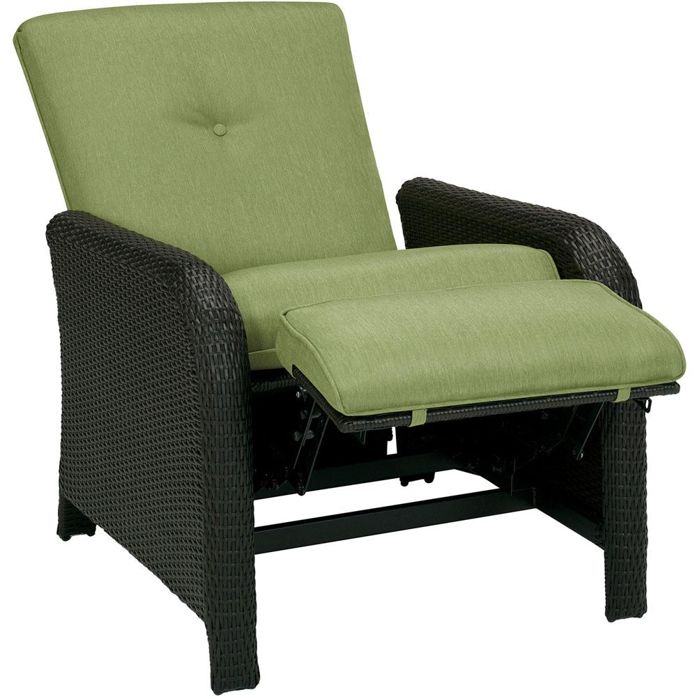 cambridge corolla 1 piece wicker outdoor reclinging patio lounge chair with green cushions - Patio Lounge Chairs