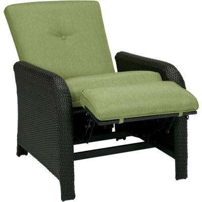 Corolla 1-Piece Wicker Outdoor Reclinging Patio Lounge Chair with Green Cushions
