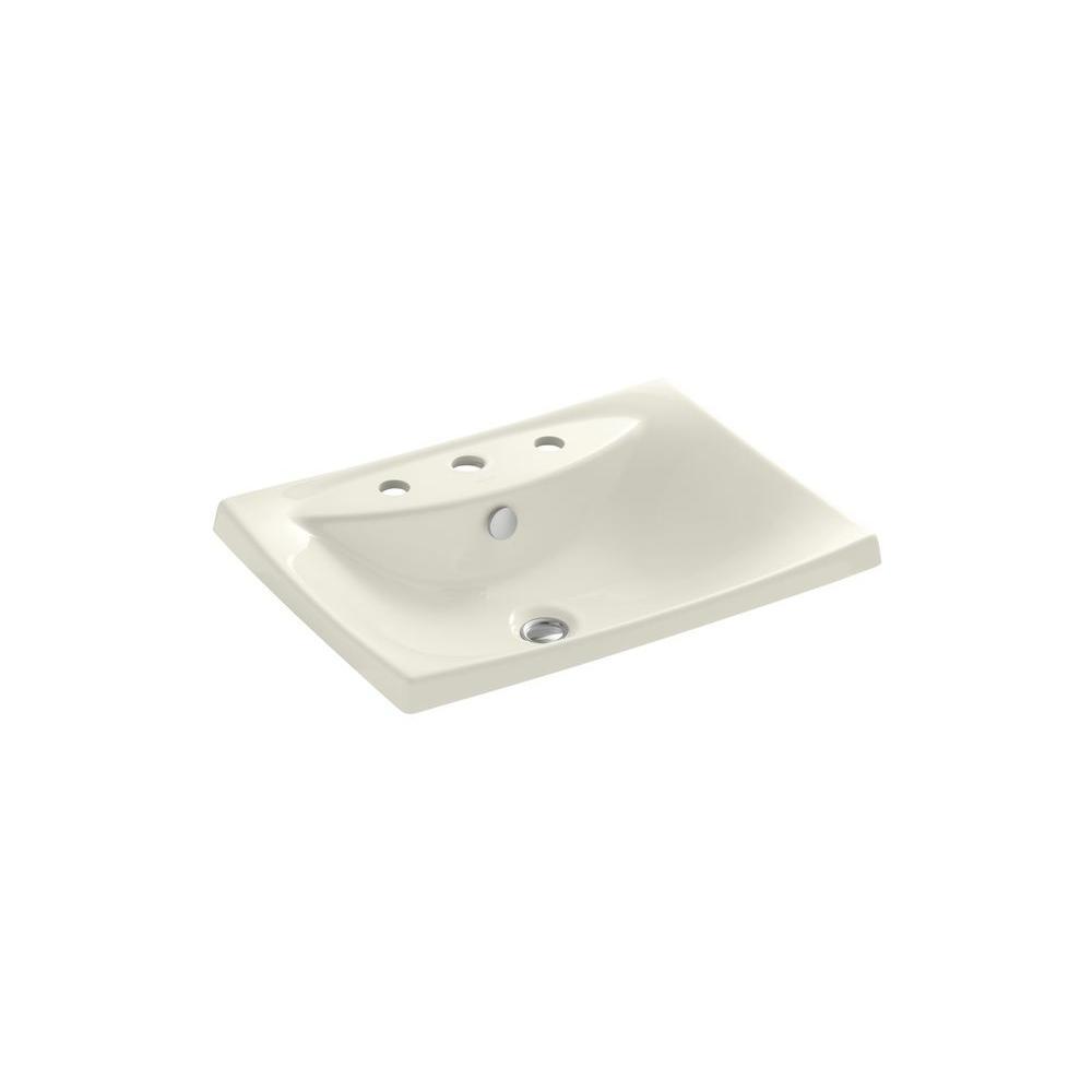 Kohler Escale Drop In Fireclay Bathroom Sink In Biscuit With Overflow Drain K 19029 8 96 The
