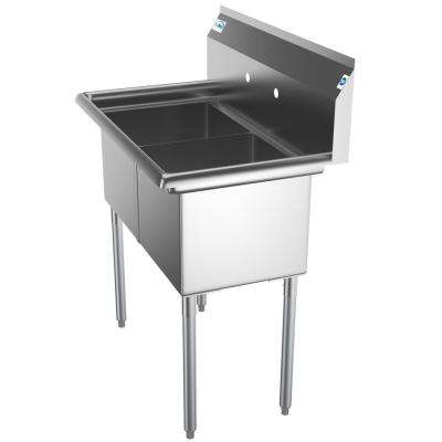 Freestanding Stainless Steel 36 in. 2-Hole Double Bowl Commercial Kitchen Sink