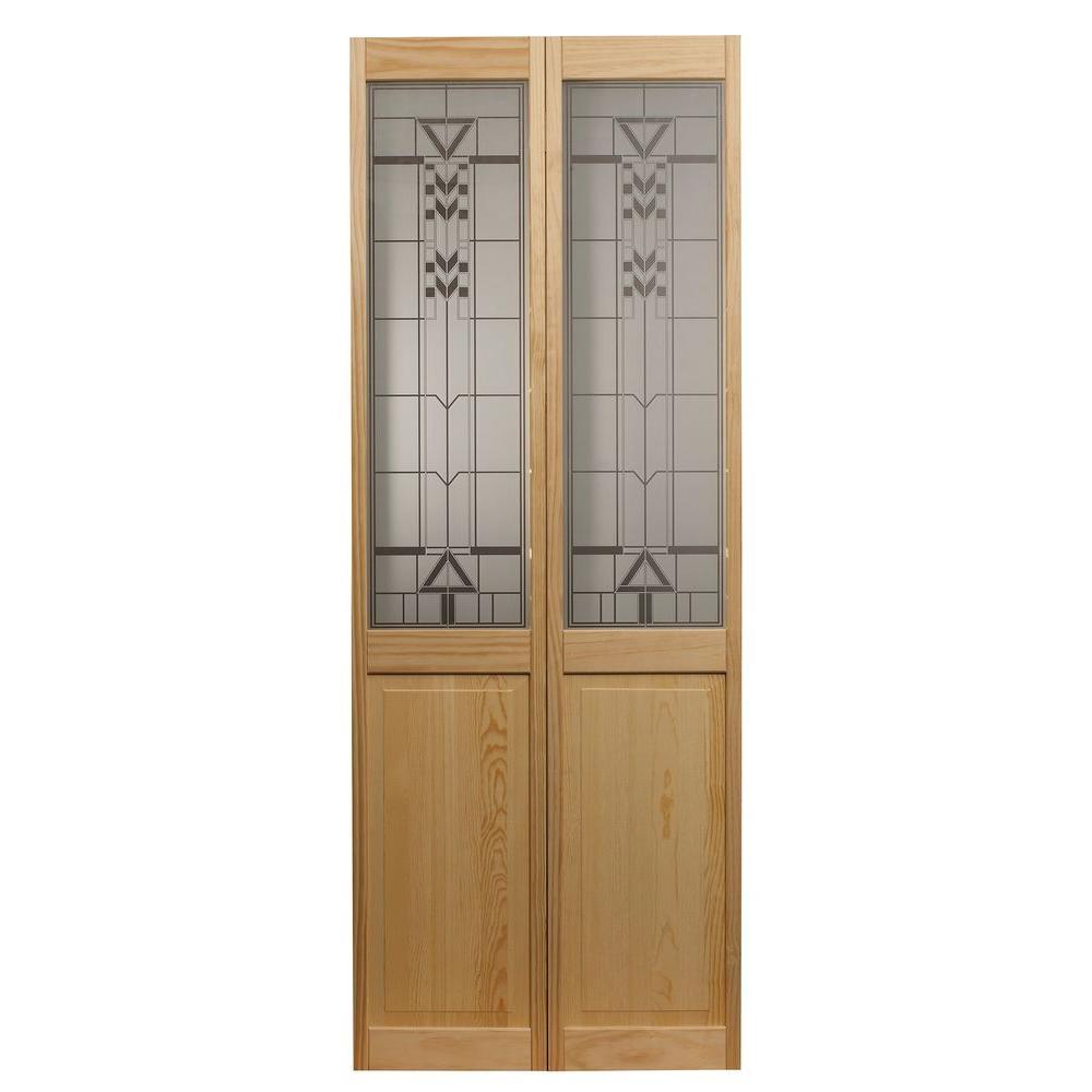 32 in. x 80 in. Deco Glass Over Raised Panel 1/2-Lite Decorative Pine Wood Interior Bi-fold Door