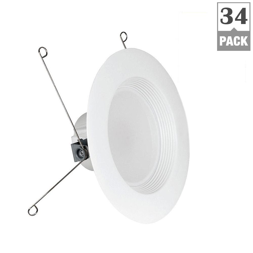 Commercial Electric 6 In White Recessed Lighting Housings And Trims Leviton Gfci Wiring Diagram Multiple 75w Equivalent Soft 5 Baffle Trim Retrofit Downlight
