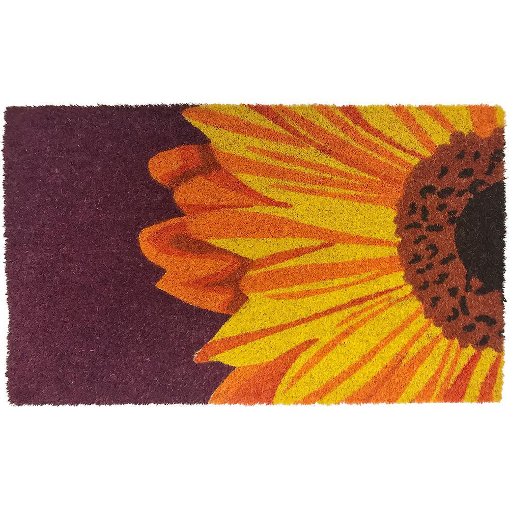 One Sunflower 28 in. x 17 in. Coir Door Mat with Backing