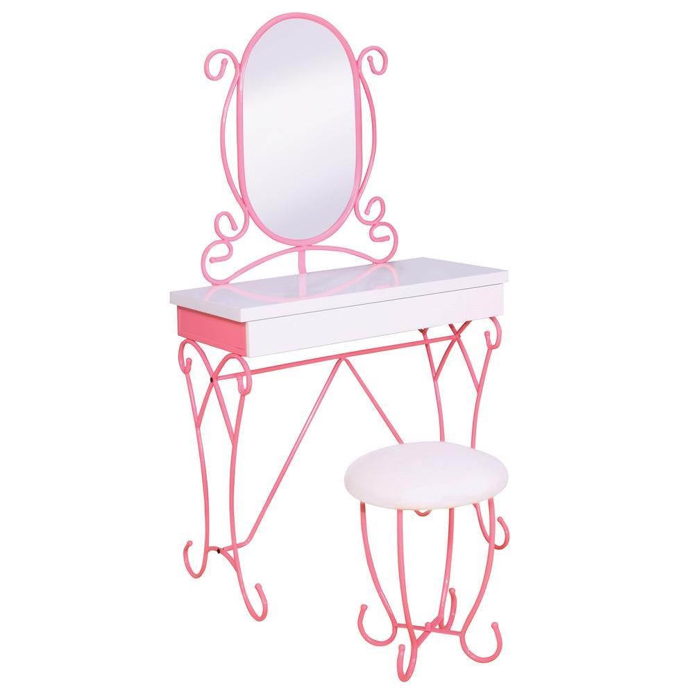 Vella 2-Piece Pink Princess Style Vanity Set