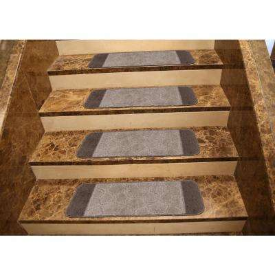 Softy Collection Brown Bordered Design 9 in. x 26 in. Rubber Back Stair Tread Cover (Set of 7)