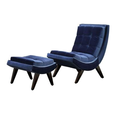 Blue Velvet Chair with Ottoman