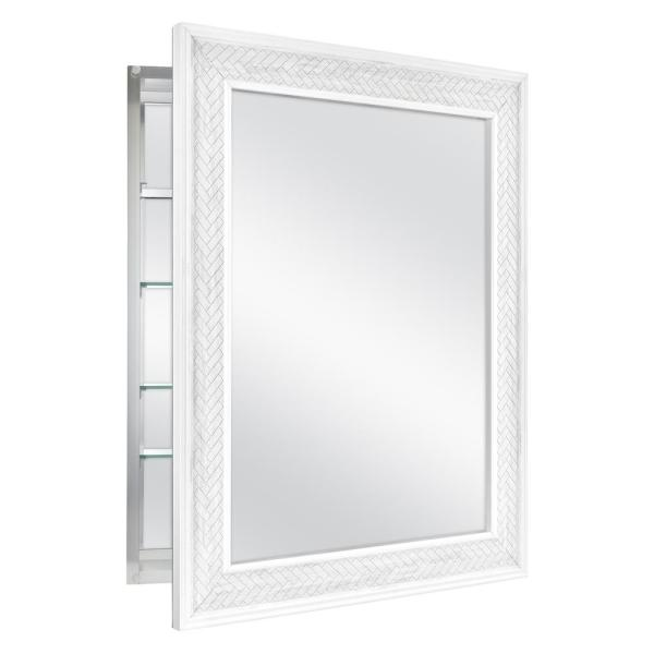 Home Decorators Collection 24 In X 30 In Fog Free Recessed Or Surface Mount Herringbone Medicine Cabinet 83011 The Home Depot