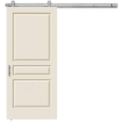 36 in. x 84 in. Avalon Primed Smooth Molded Composite MDF Barn Door with Modern Hardware Kit