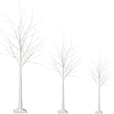 6 ft. White Pre-Lit LED Light Flocked Artificial Christmas Tree Set with White Light and Decorative Add-Ins (3-Piece)