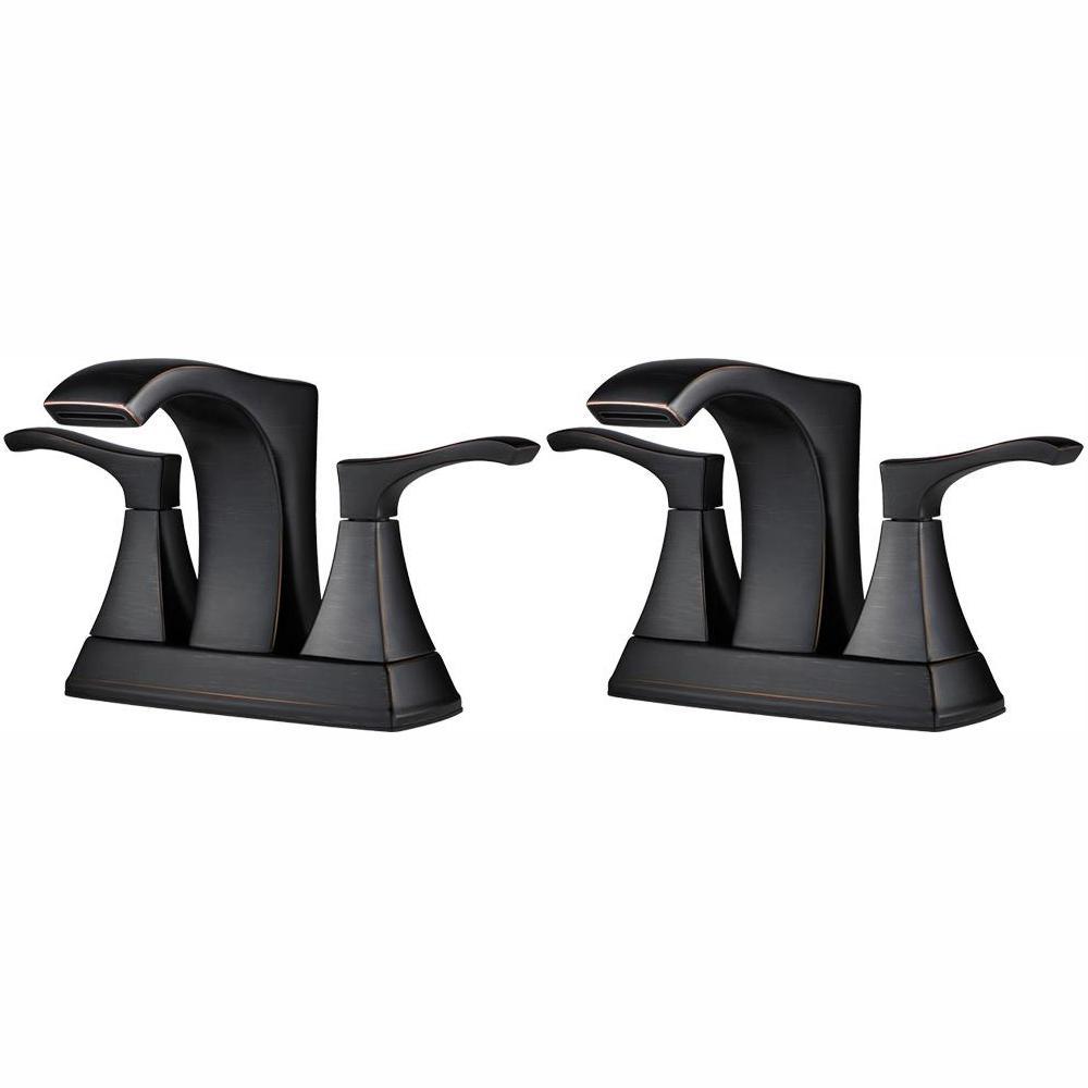 Venturi 4 in. Centerset 2-Handle Bathroom Faucet in Tuscan Bronze (2-Pack Combo)