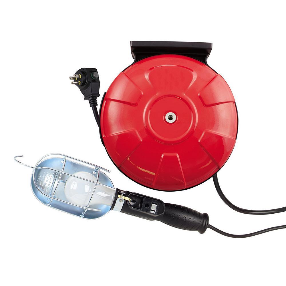 75-Watt 40 ft. 16/3 SJTW Incandescent Guarded Trouble Work Light with Retractable Cord Reel