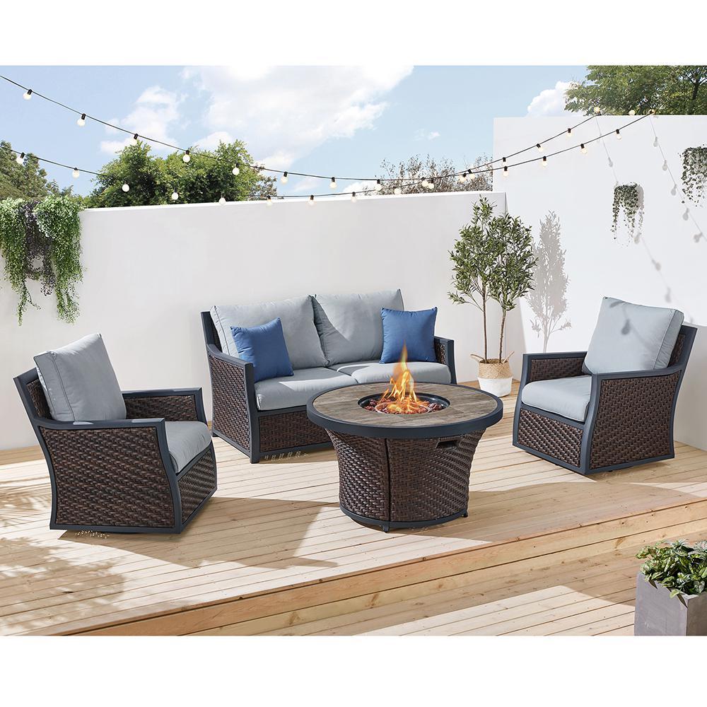 Barcelona II 4-Piece Wicker Patio Fire Pit Conversation Set with Light Grey Olefin Cushions
