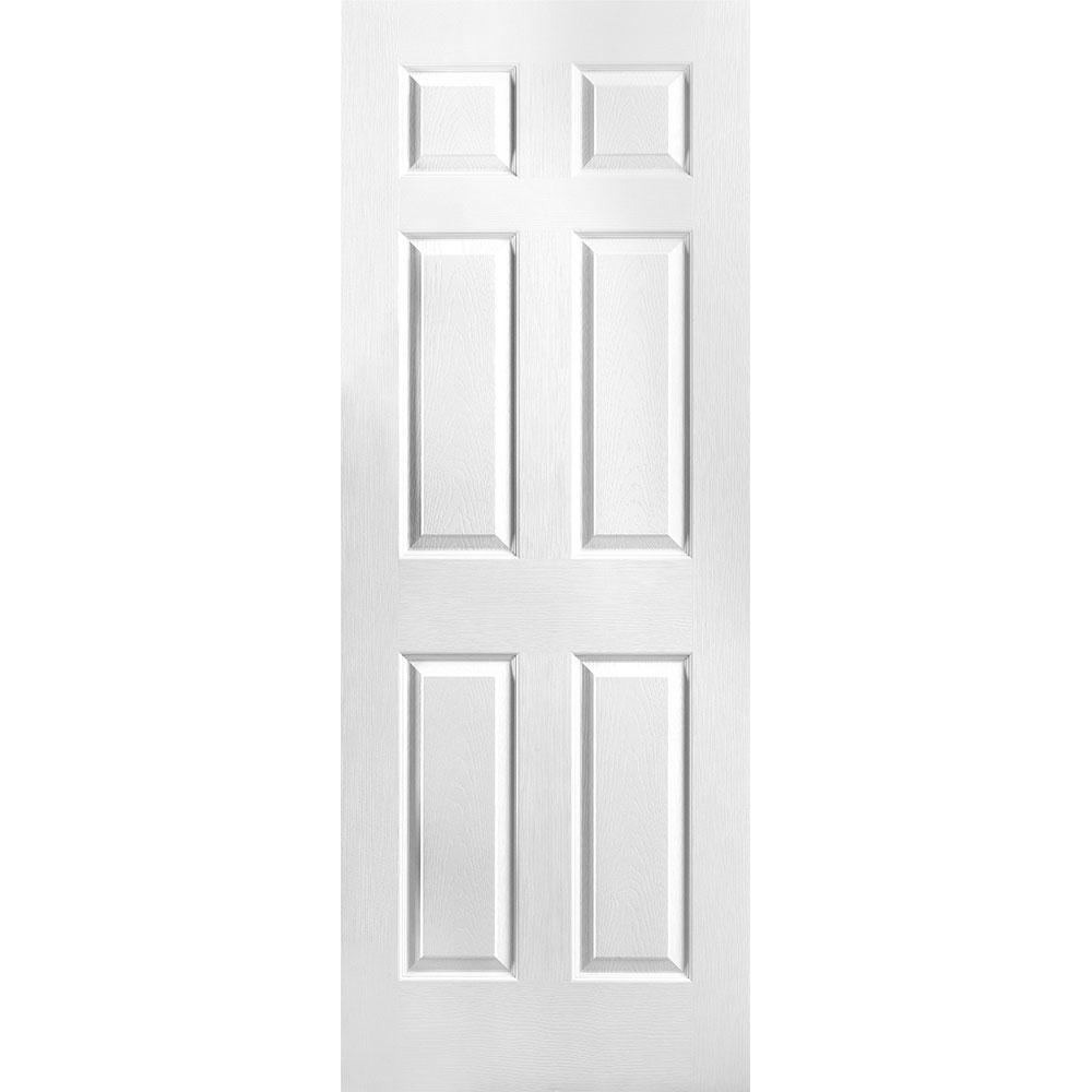 30 in. x 80 in. Textured 6-Panel Hollow Core Primed Composite Interior Door Slab