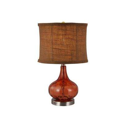 Aurora 19-1/2 in. Amber Table Lamp with Emergency Light