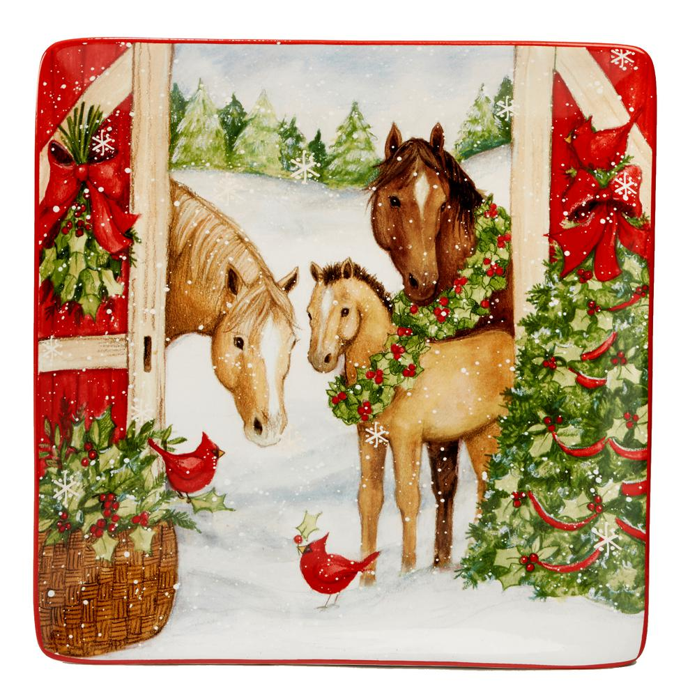 Christmas on the Farm by Susan Winget 12.5 in. Square Platter