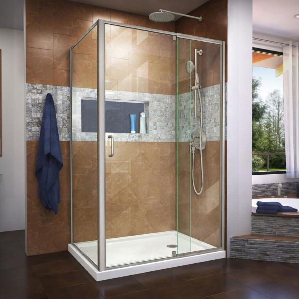 Flex 34-1/2 in. D x 44-48 in. W x 72 in. H Semi-Frameless Pivot Shower Enclosure in Brushed Nickel