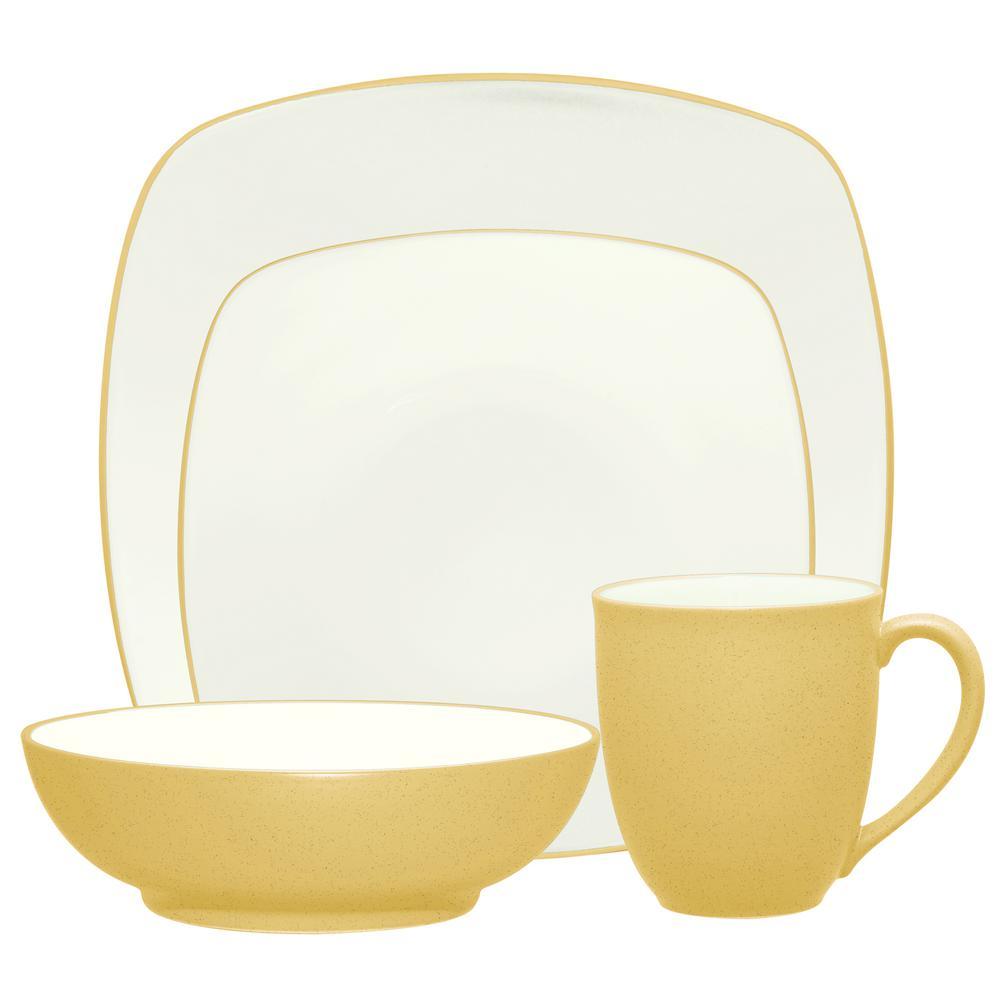 Colorwave Square 4-Piece Casual Mustard Stoneware Dinnerware Set (Service for 1)