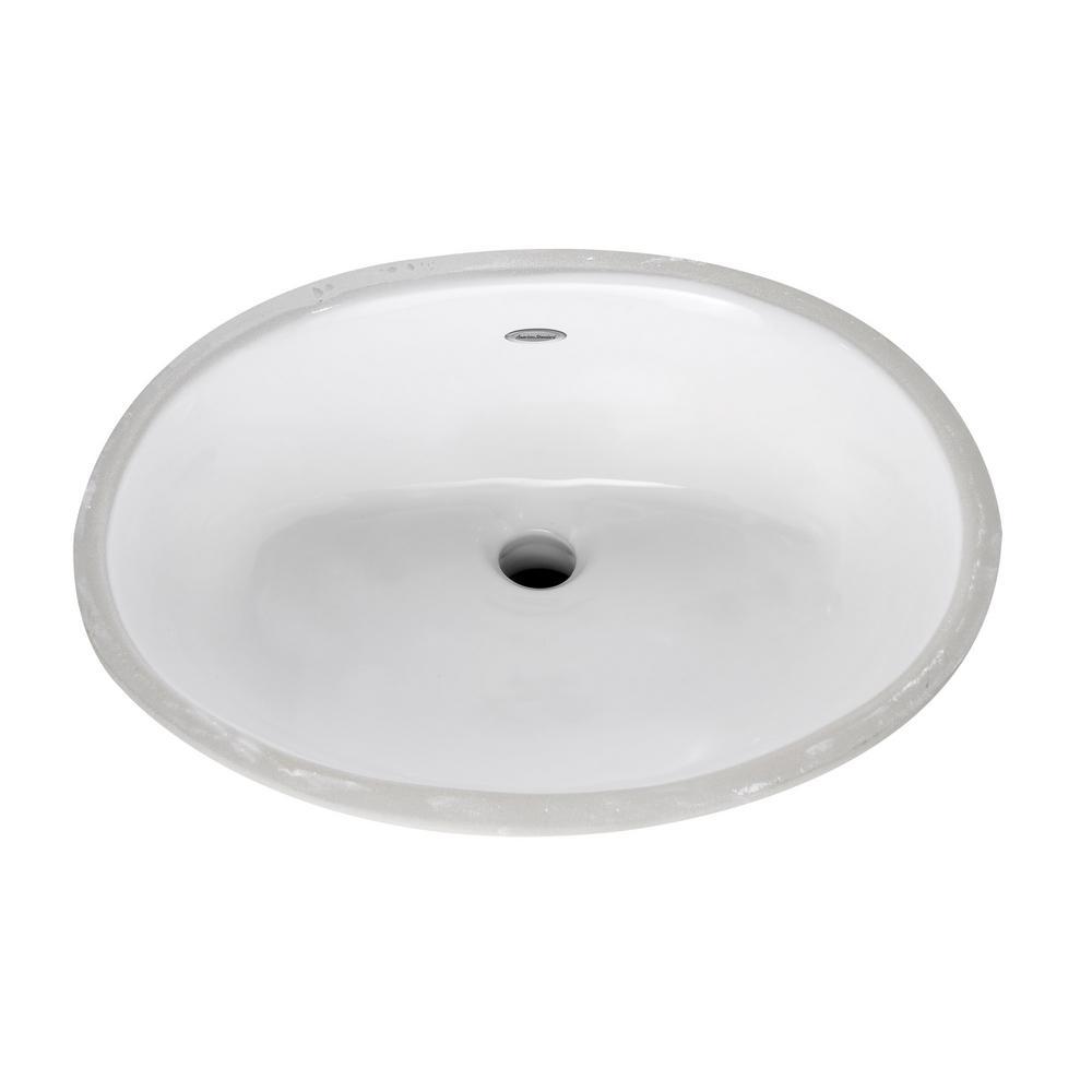 Ovalyn Front Overflow Undercounter Bathroom Sink with Glazed Underside in White