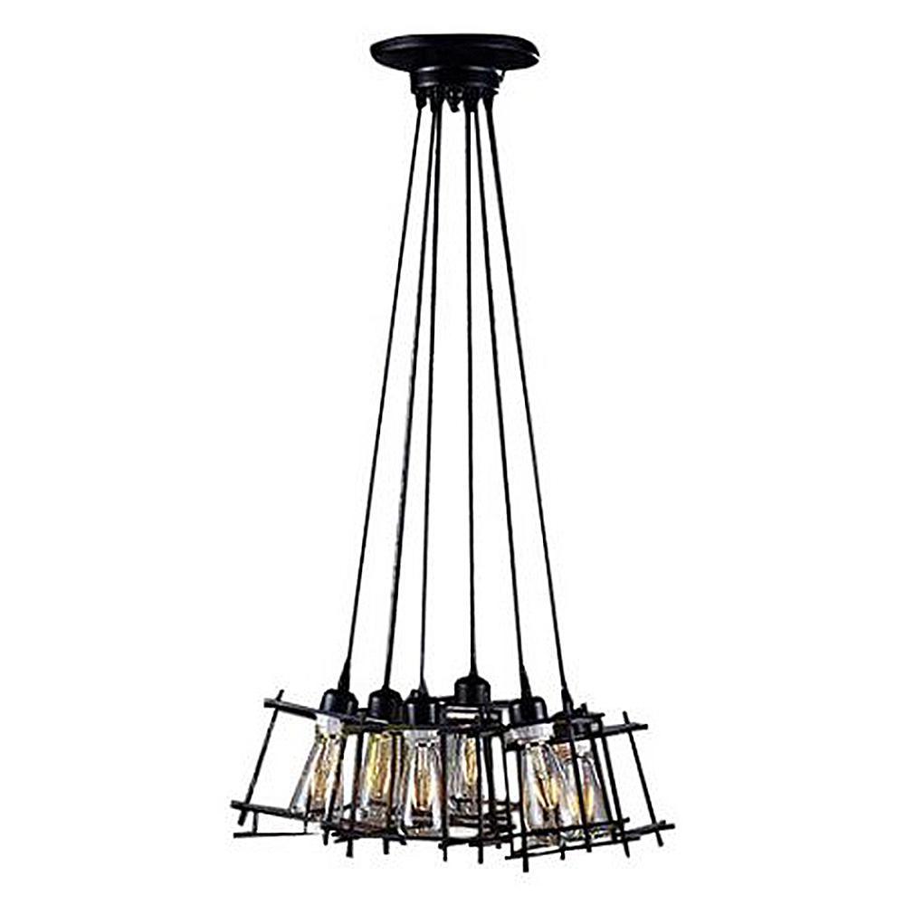 Warehouse of Tiffany Titania Edison 6-Light Black Pendant