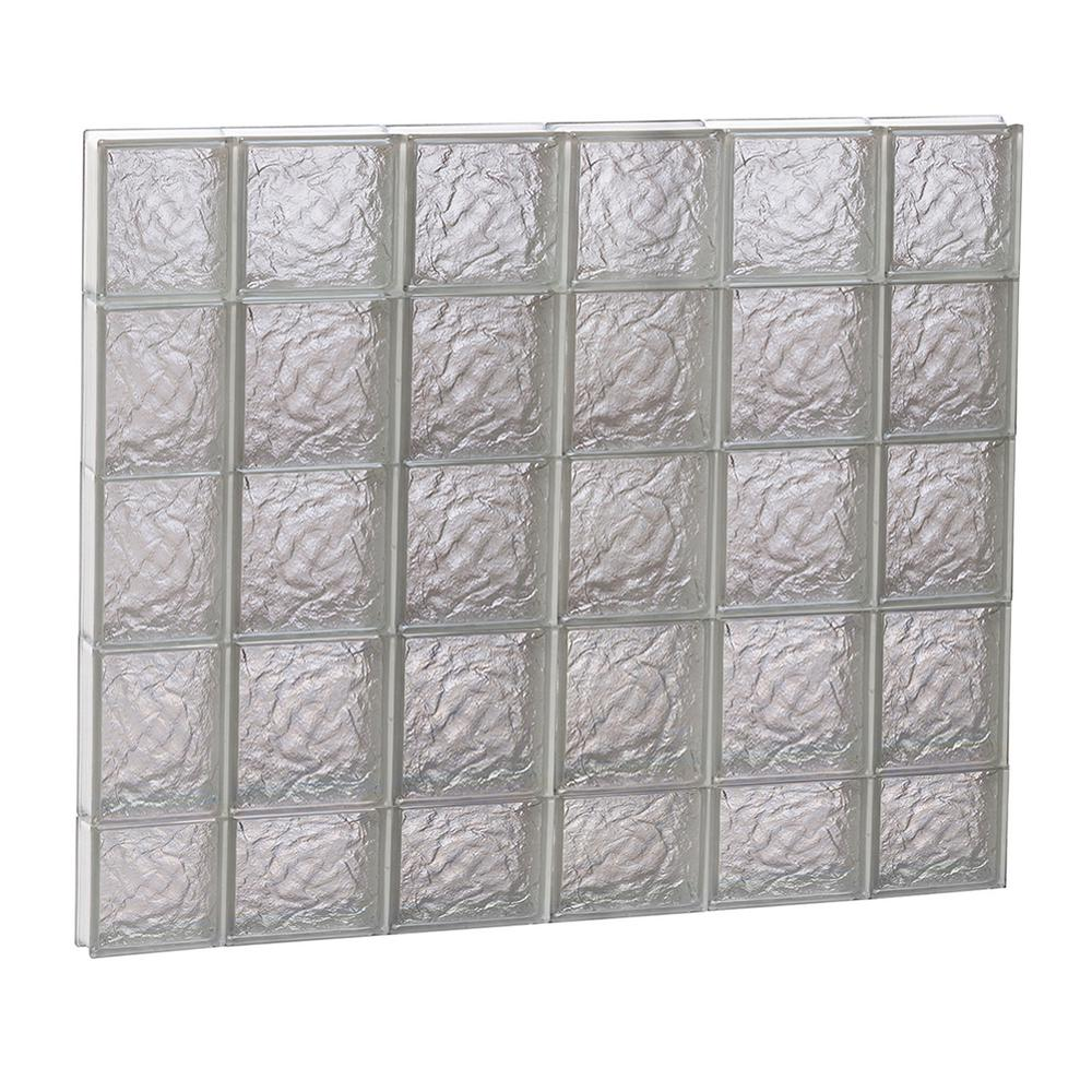 Clearly Secure 42.5 in. x 36.75 in. x 3.125 in. Frameless Ice Pattern Non-Vented Glass Block Window
