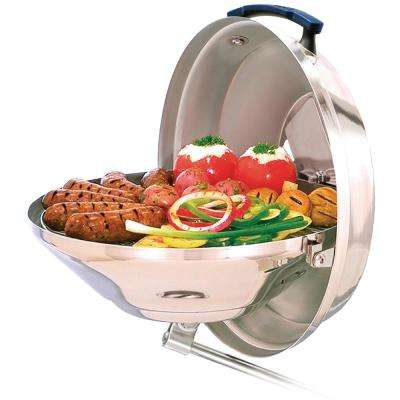 Marine Kettle 15 in. Portable Charcoal Grill with Hinged Lid in Stainless Steel