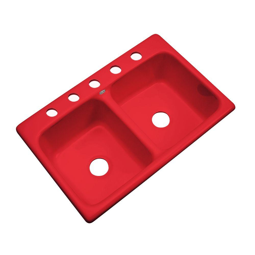 Thermocast Newport Drop-In Acrylic 33 in. 5-Hole Double Basin Kitchen Sink in Red