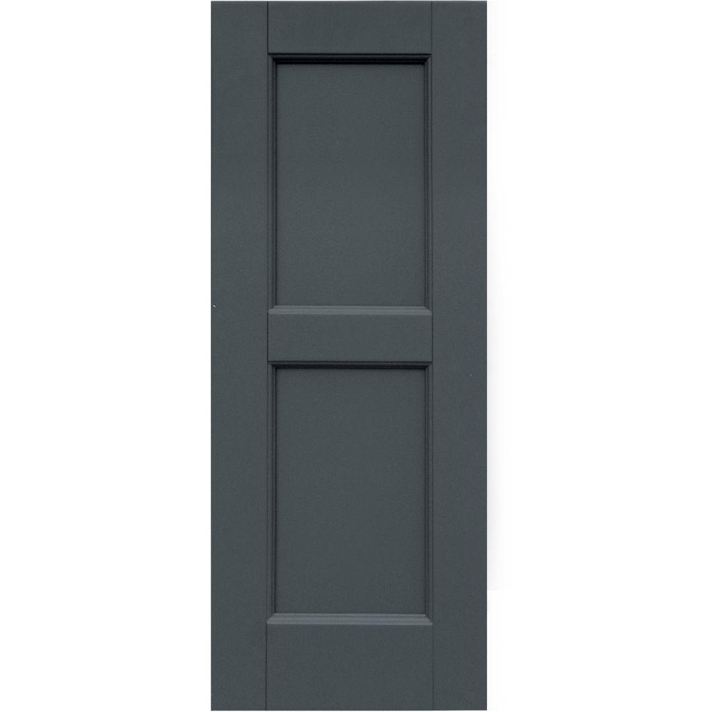 Winworks Wood Composite 12 in. x 31 in. Contemporary Flat Panel Shutters Pair #663 Roycraft Pewter
