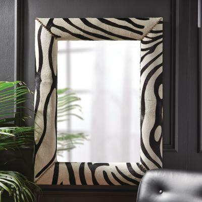 Large Rectangle Black/White Modern Mirror (43 in. H x 33 in. W)