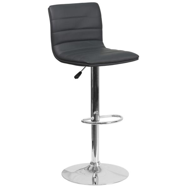 Adjustable Height Gray Cushioned Bar Stool