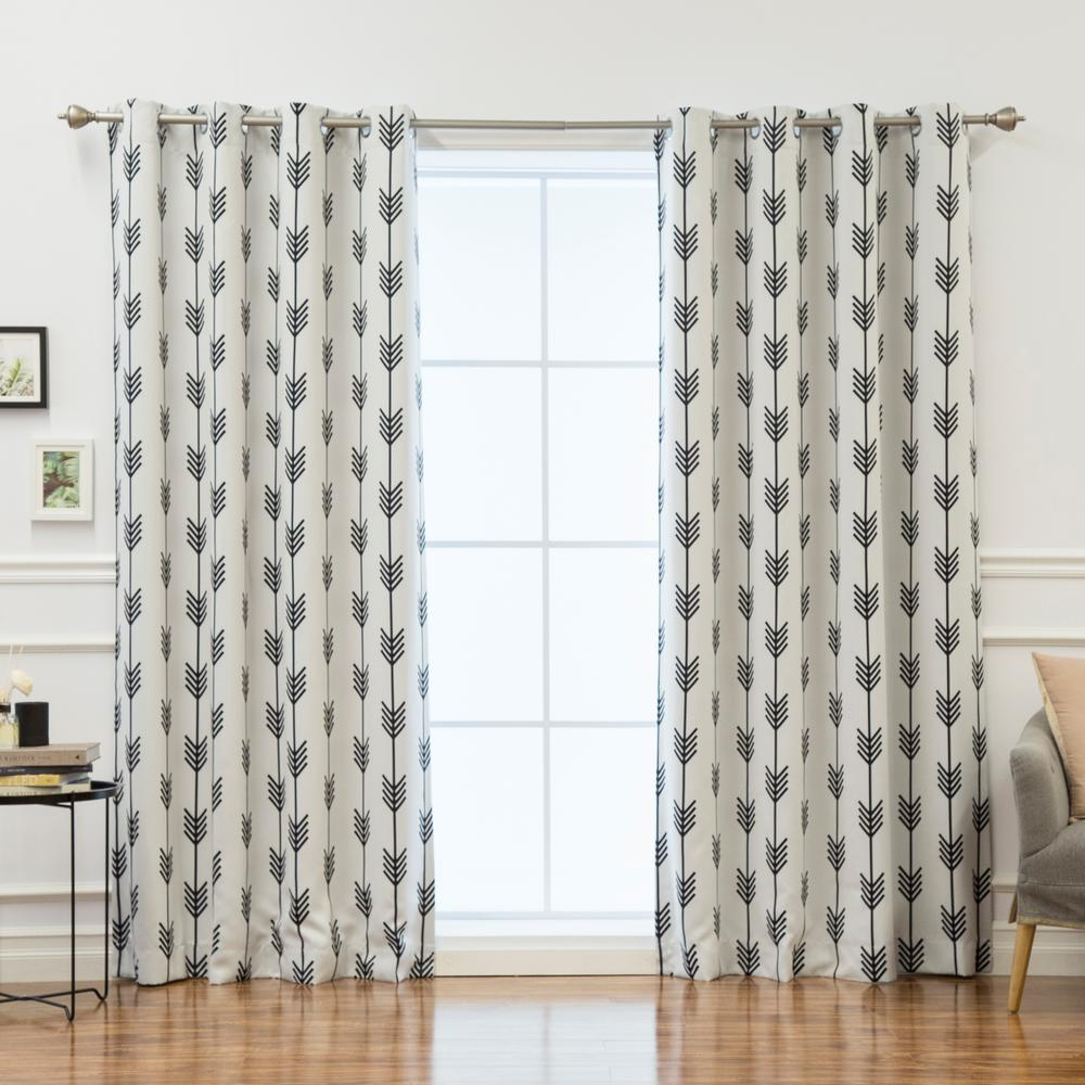 Best Home Fashion 96 in. L Arrow Room Darkening Curtains in White (2-Pack)