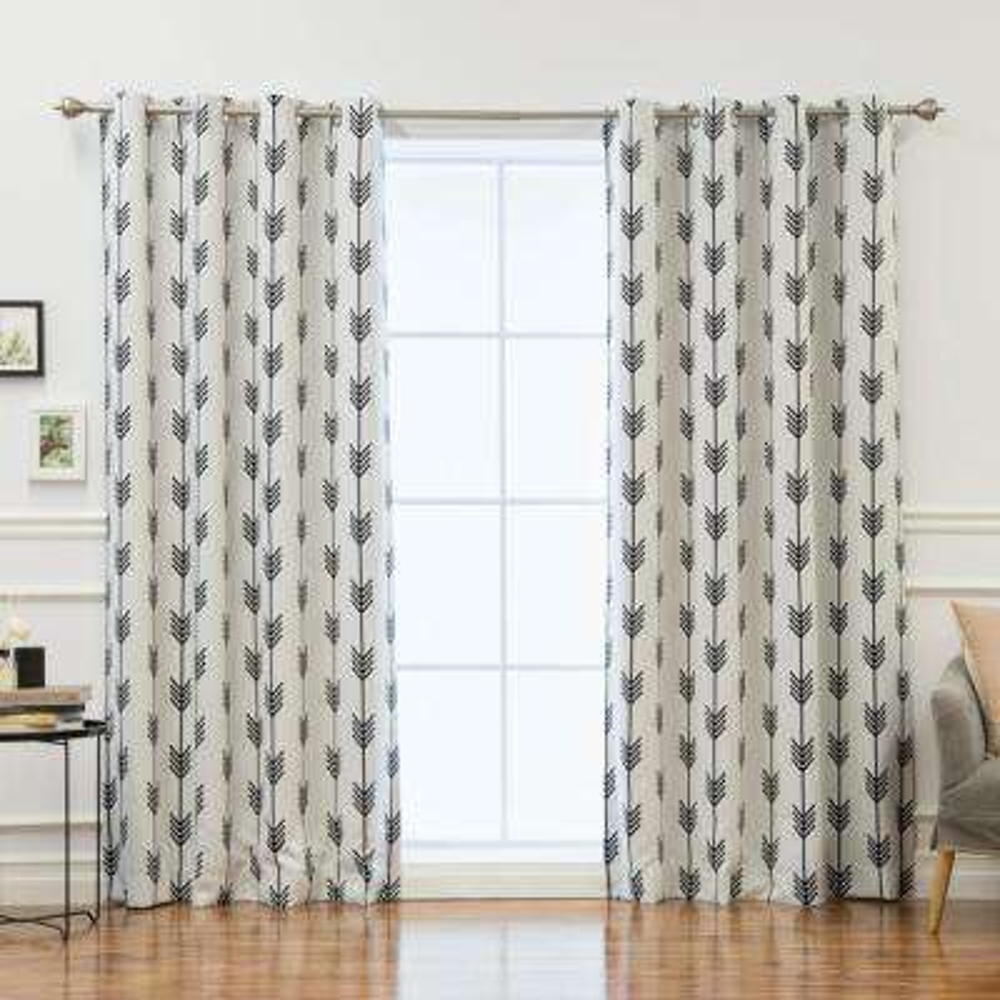 96 in. L Arrow Room Darkening Curtains in White (2-Pack)