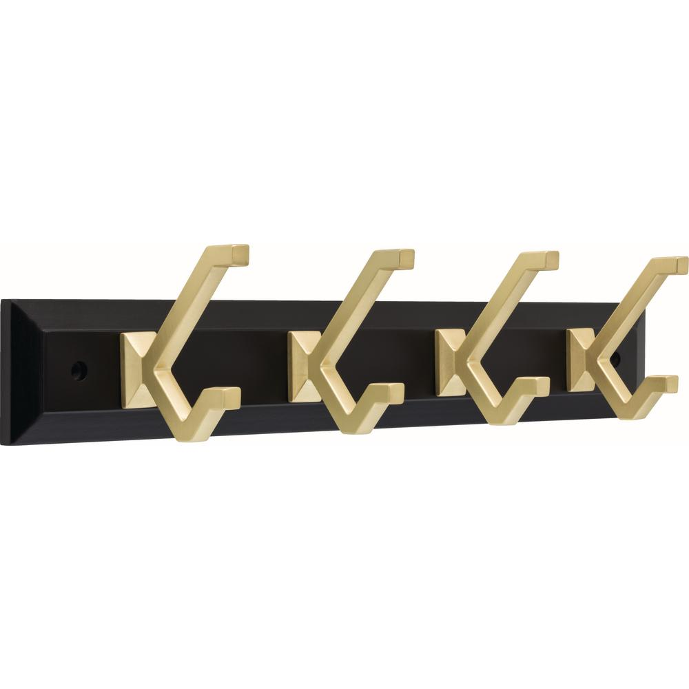 Liberty Modern Decorative 19 in. Matte Black and Brushed Brass Hook Rack