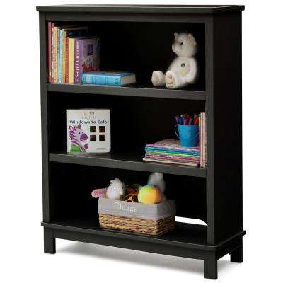 Universal 3-Shelf Black Bookcase