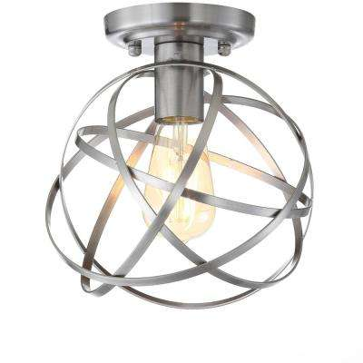 Alba 8.5 in. Nickel Metal Orb LED Flush Mount