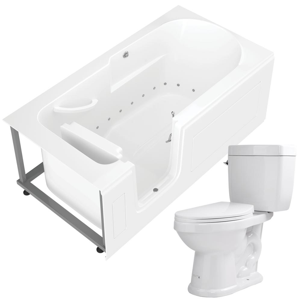 Universal Tubs Nova Heated 60 in. Walk-In Air Bath Tub in White with 1.6 GPF Single Flush Toilet was $3645.99 now $2734.49 (25.0% off)