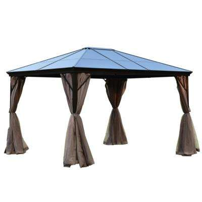 10 ft. x 12 ft. Aluminum Hardtop Gazebo in Brown