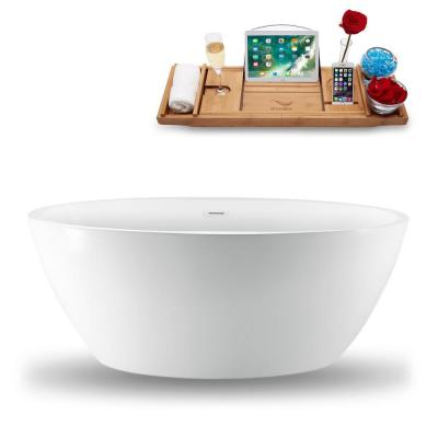 59.1 in. Acrylic Fiberglass Flatbottom Non-Whirlpool Bathtub in White