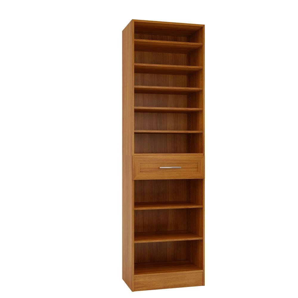 Home Decorators Collection 15 in. D x 24 in. W x 84 in. H Bergamo Cognac Melamine with 9-Shelves and Drawer Closet System Kit