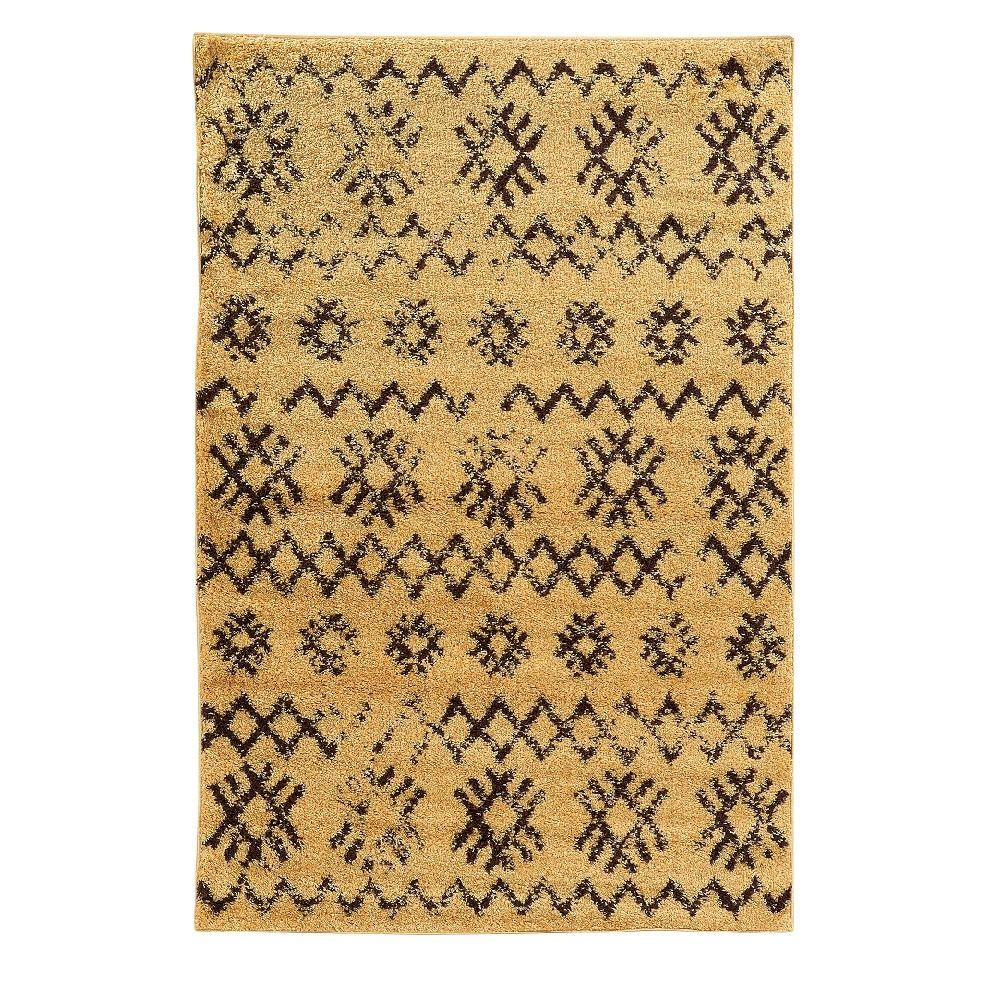 Linon Home Decor Moroccan Collection Mekenes Camel and Brown 8 ft. x 10 ft. Indoor Area Rug