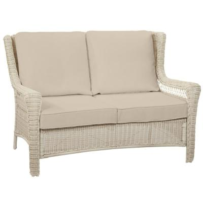 Park Meadows Off-White Wicker Outdoor Patio Loveseat with CushionGuard Putty Tan Cushions