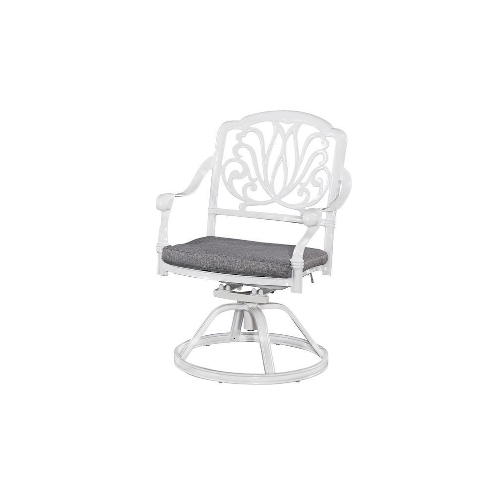 Home Styles Floral Blossom White All-Weather Patio Swivel...
