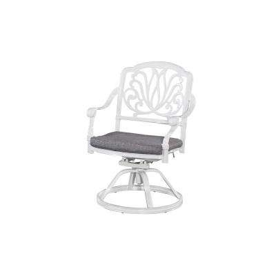 Floral Blossom White All-Weather Patio Swivel Chair Pair with Cushion