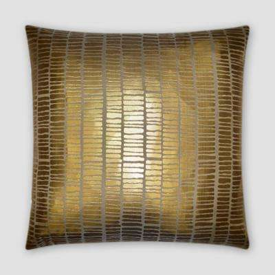 Mineral Stripe Gold Feather Down 20 in. x 20 in. Standard Decorative Throw Pillow