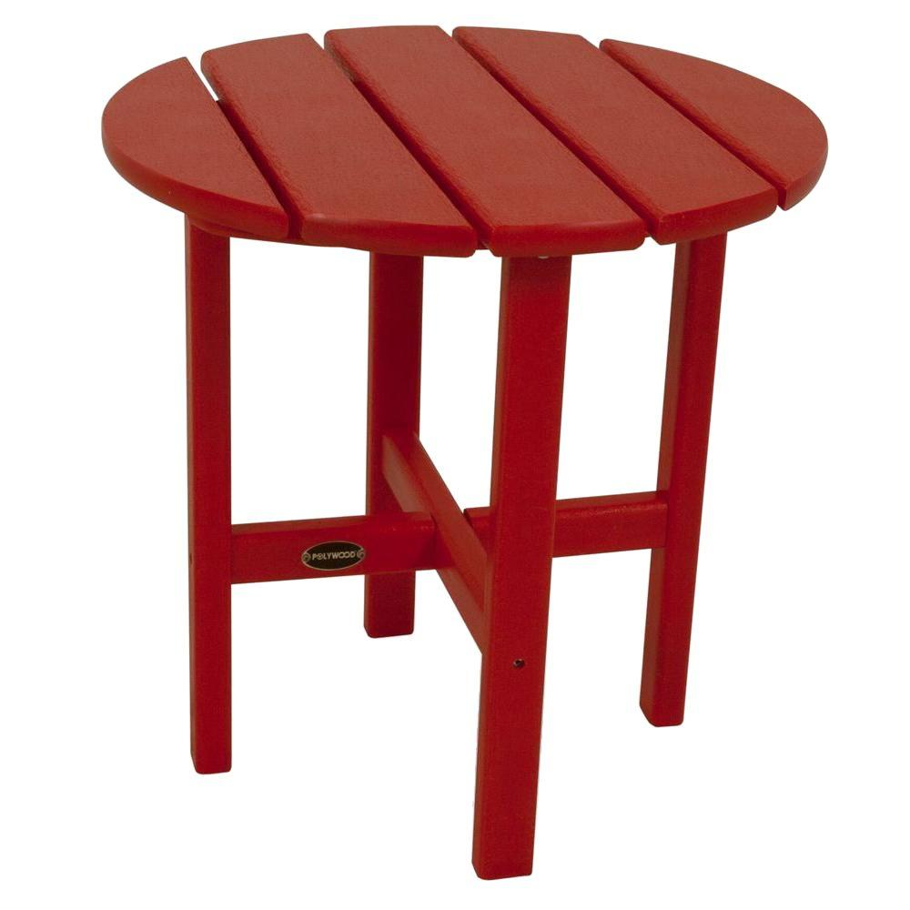 18 in. Sunset Red Round Patio Side Table