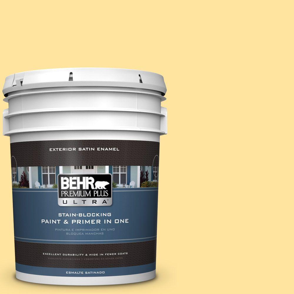 BEHR Premium Plus Ultra 5-gal. #340B-4 Lemon Drops Satin Enamel Exterior Paint