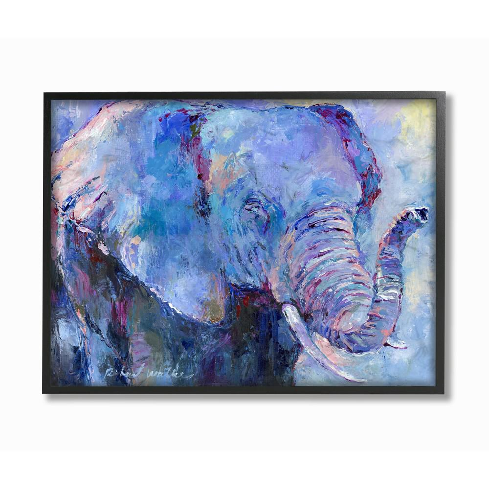 16 In X 20 In Brightly Colored Blue And Purple Painted Elephant Portrait By Artist Richard Wallich Framed Wall Art