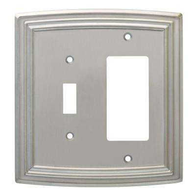 Emery Decorative Light Switch and Rocker Switch Cover, Satin Nickel