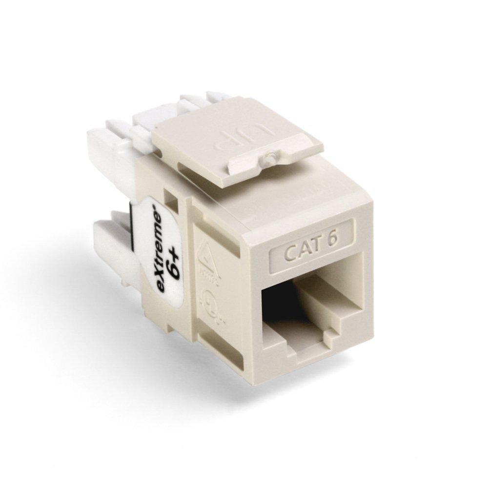 QuickPort Extreme CAT 6 Connector with T568A/B Wiring, Light Almond