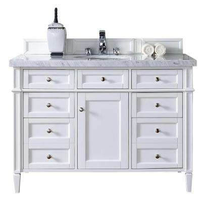 Brittany 48 in. W Single Vanity in Cottage White with Marble Vanity Top in Carrara White with White Basin